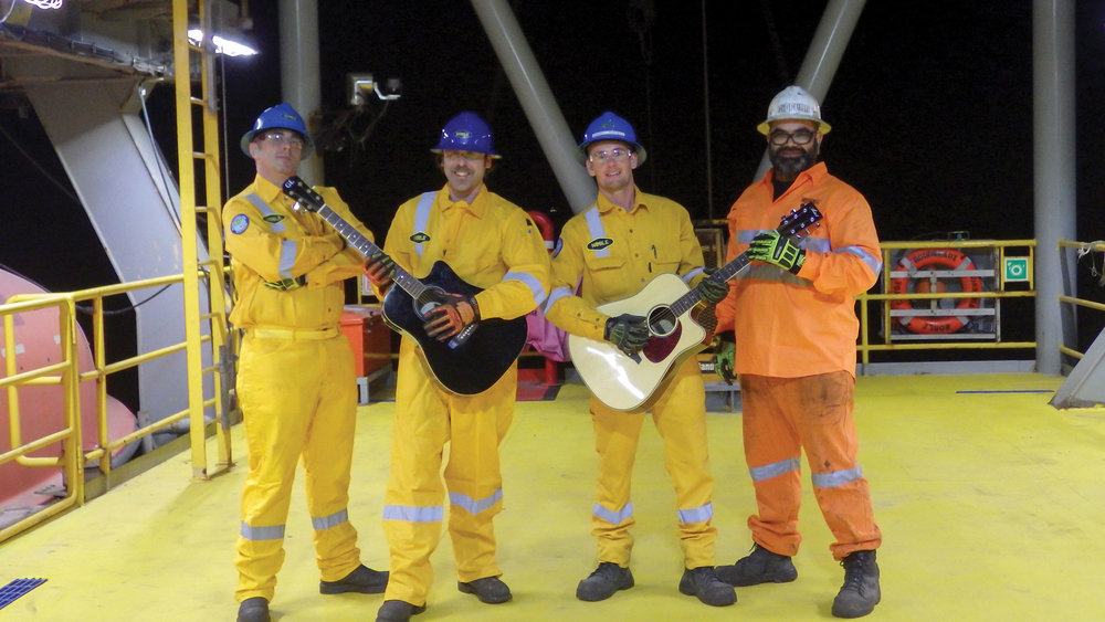 The video contributors onboard included (L-R): Toney Jett (ET), Brenham Daniels (SSE), Leigh Sutherland (STS) and Dwayne Te Aho (Shell Safety Coach)