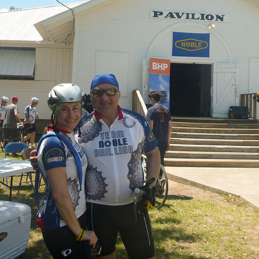 Rita and Nabil Joubran relax at the Noble pavilion after day one of the ride.