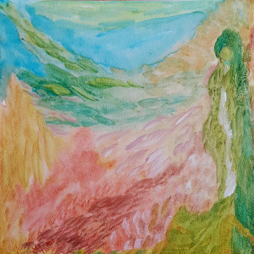 Earth Goddess. 6x6 acrylic on Aquabord