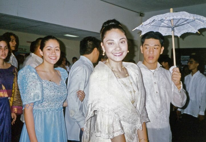Leila in a white (and one of her BFFs Deirdre in blue) traditional Filipiniana gown at a Philippine parade during her sophomore year of high school.