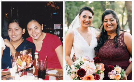 Saima and I, THEN and NOW...   (our Junior year of highschool (1998) and Saima as my maid of honor (2016). I actually couldn't find one normal picture of us in any of my wedding photos.)