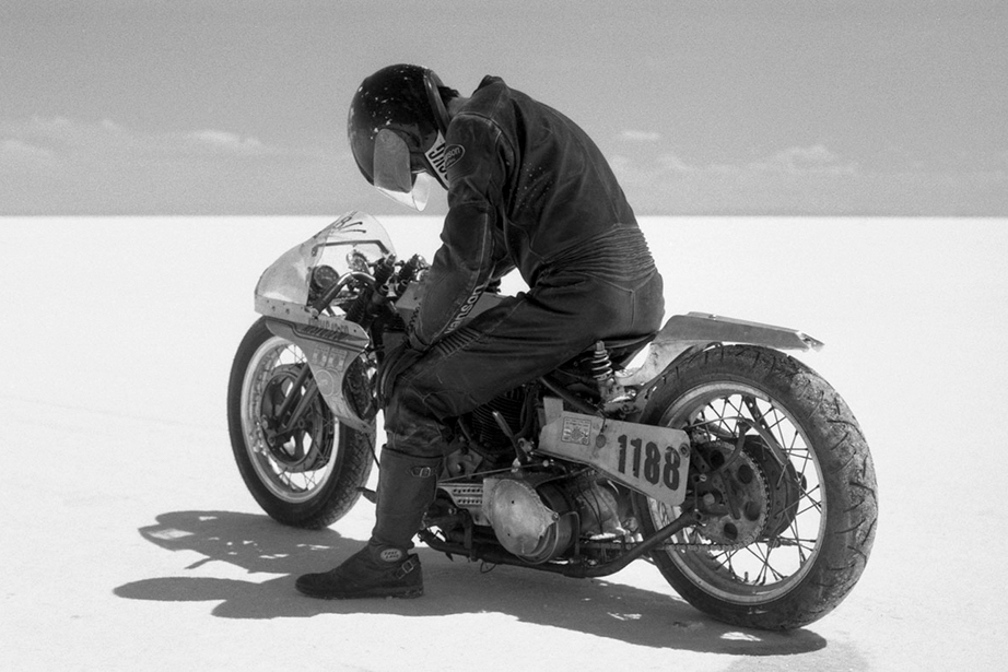 An image of a motorcycle at Bonneville Salt Flats taken from the Greasy Hands Preachers documentary.