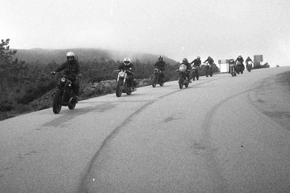 An image of a group of motorcycles taken from the Greasy Hands Preachers documentary.