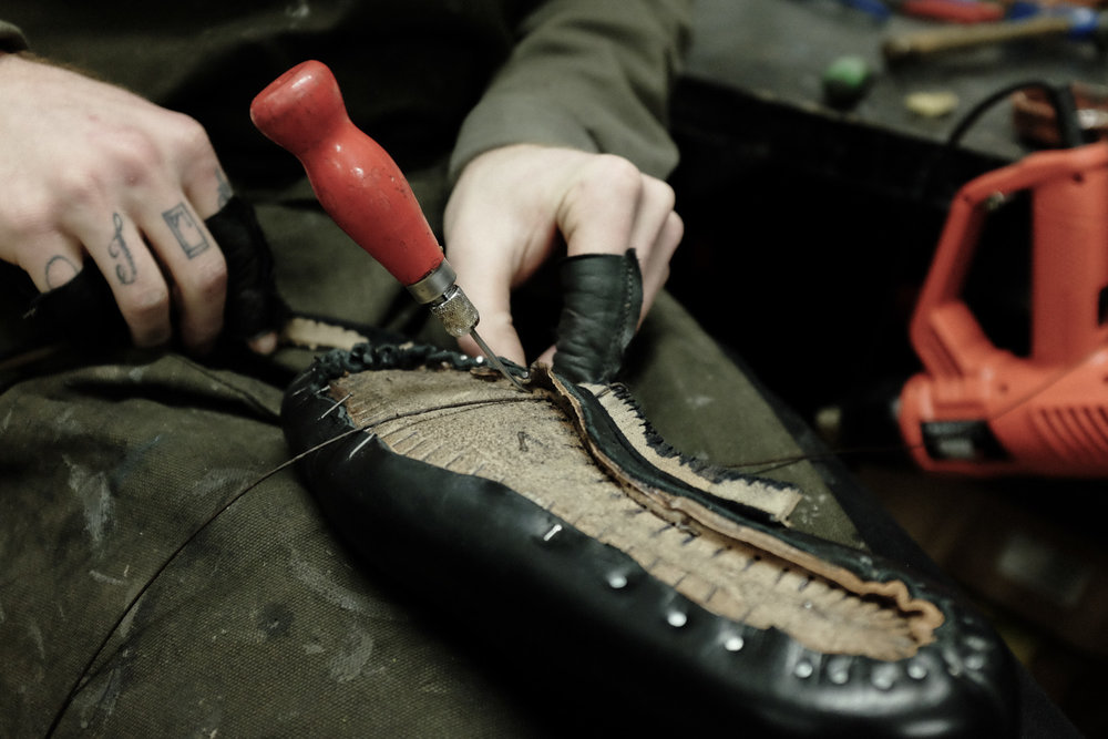 Bootmaker Felix Jouanneau in his Workshop.