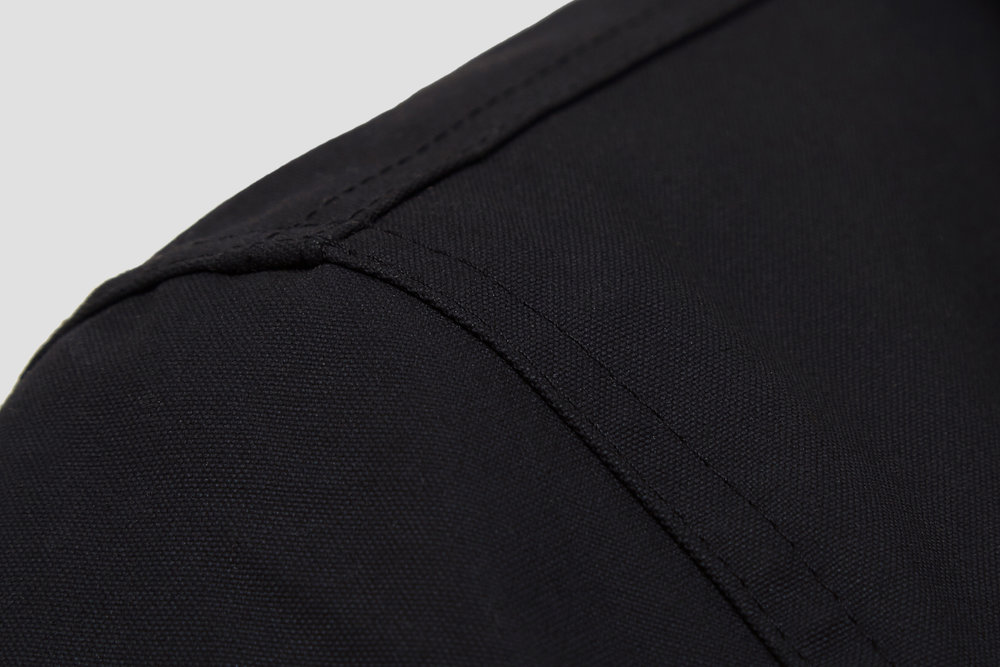 All seams are twin needle stitched using a heavy thread for strength and durability.