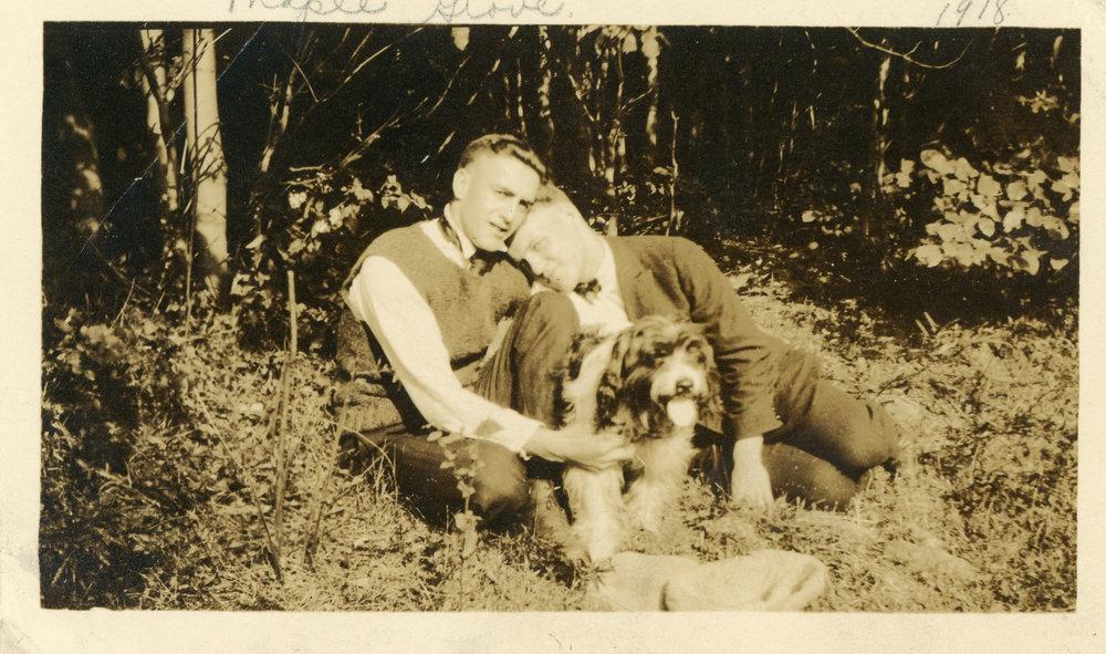 old-antique-found-photograph-two-men-hugging-dog-love.jpg
