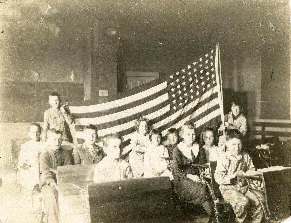 old-antique-found-photograph-school-children-american-flag.jpg