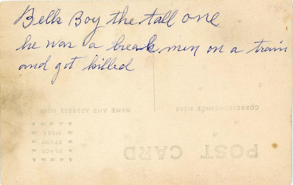 Back of photograph of Lloyd Fullmor, son of Bell Patno