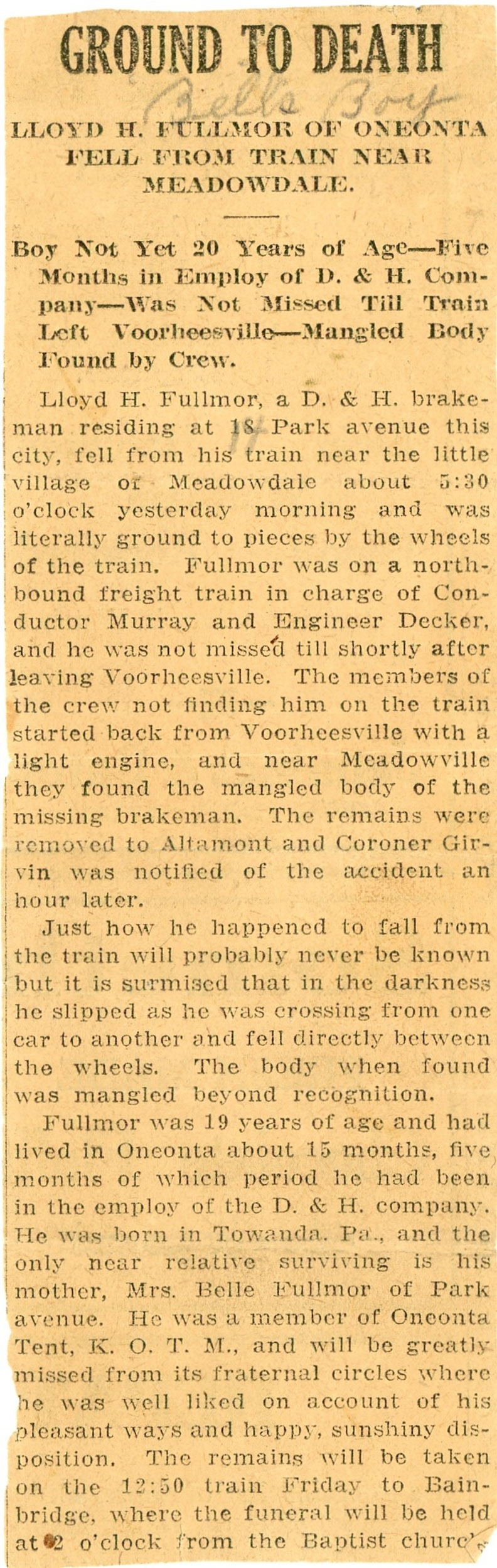 Newspaper article about Lloyd Fullmor being killed while working on a train