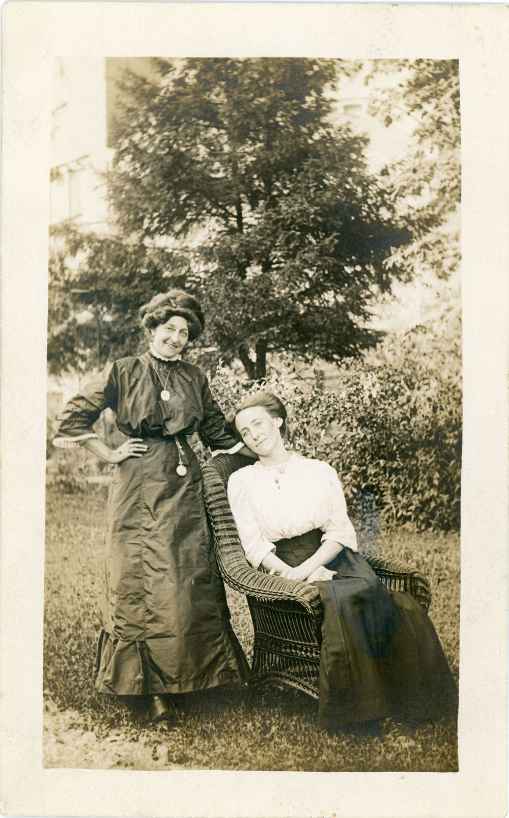 Bell (standing) with an unknown woman. Perhaps a daughter?
