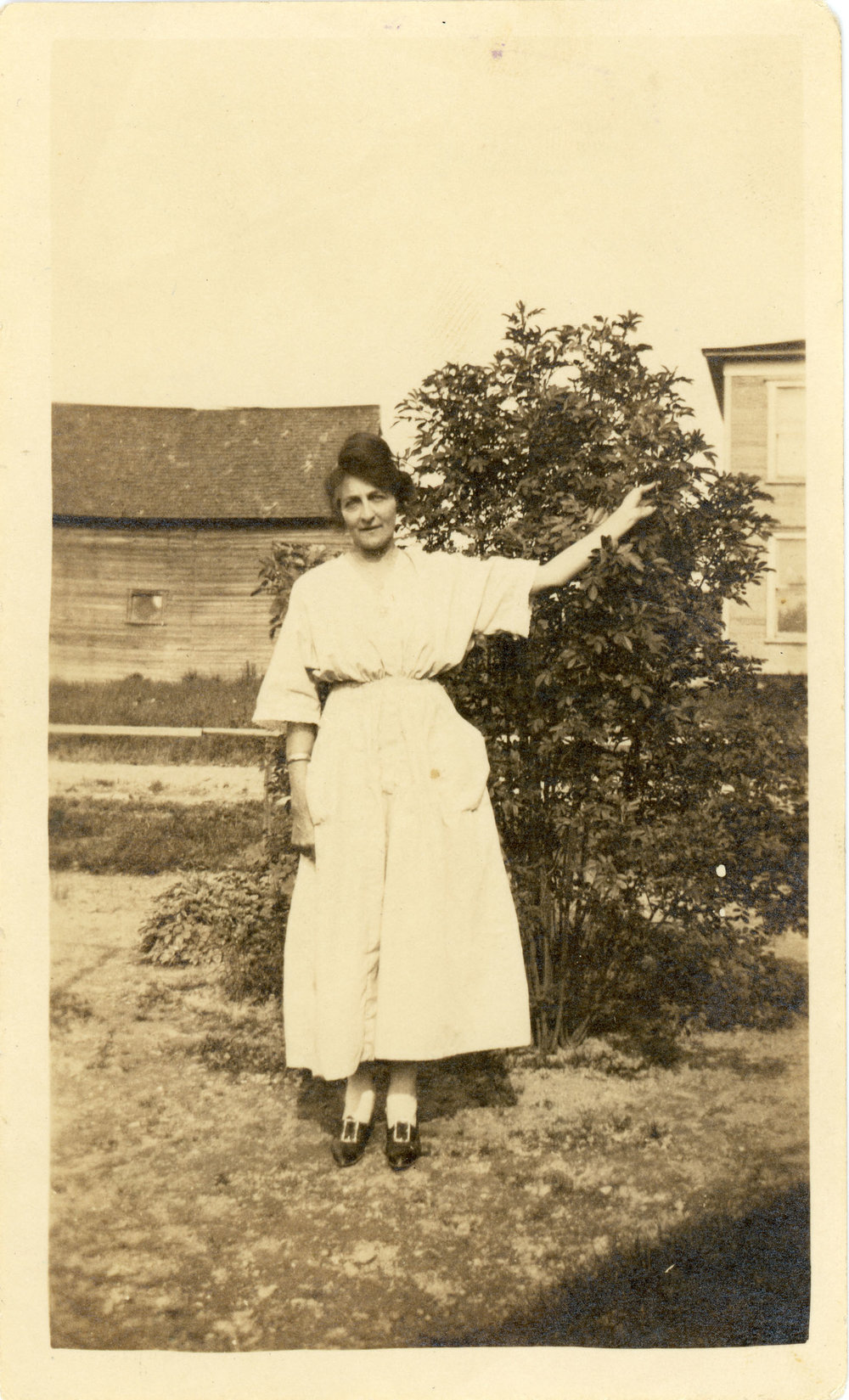 """Photo of Bell Patno labeled """"when she was a scout helper"""""""