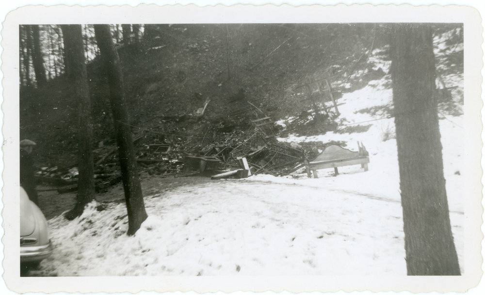 Old photo of Bell Patno's house after it burned down