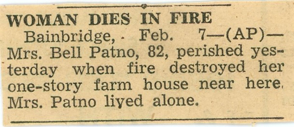 Newspaper article about Bell Patno dying in a house fire in 1950