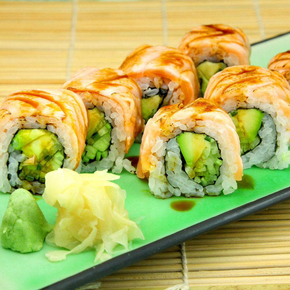 Avocado & Cucumber Inside out Roll with Seared Salmon & Unagi Sauce - 8 pcs @ £9.80