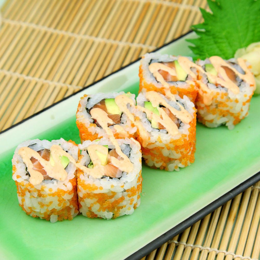 Salmon & Avocado Inside Out Rolls with Tobiko & Spicy Mayo - 6 PCS @ £5.20