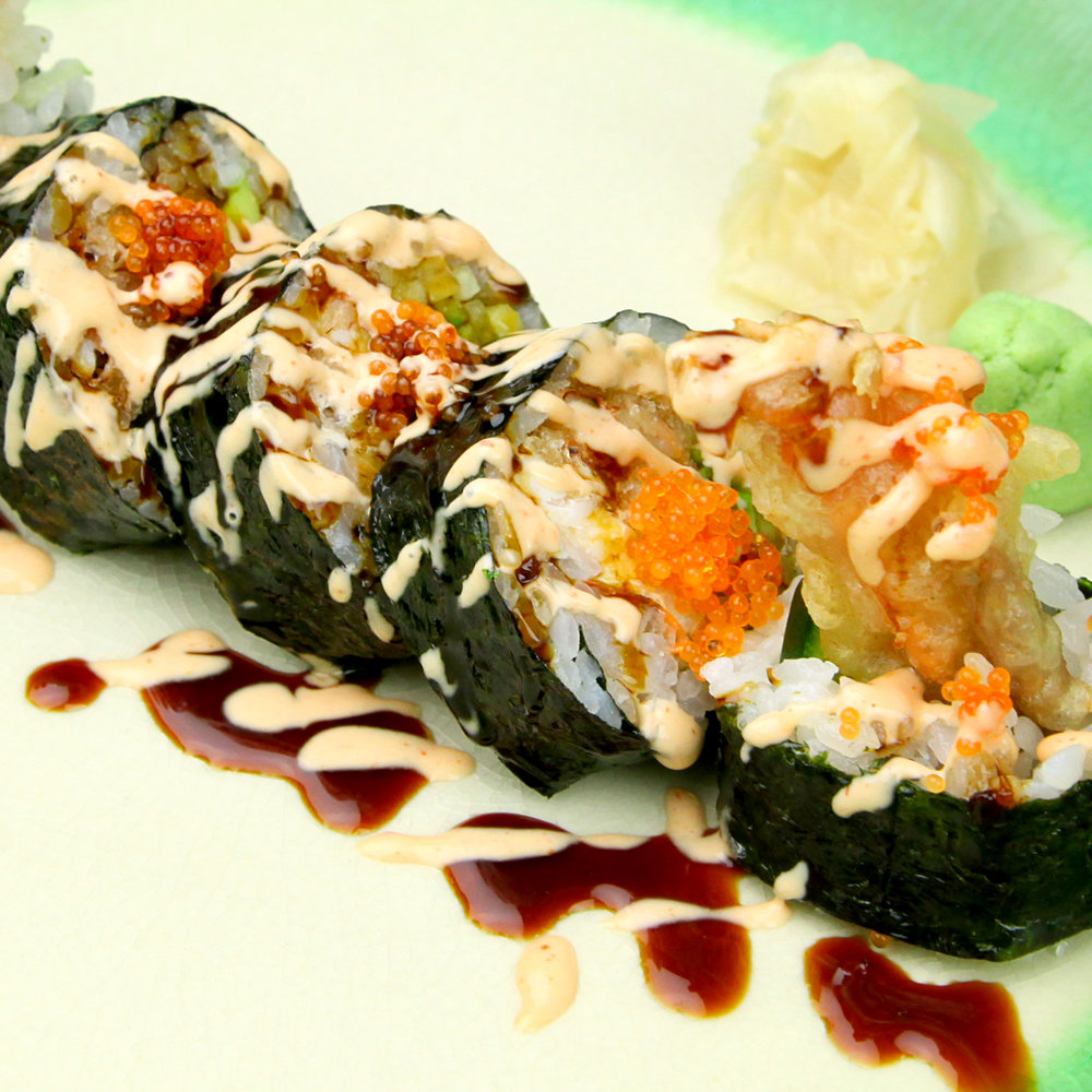 Spider Roll - Soft Shell Crab Tempura, Cucumber, Tobiko & Spicy Mayo with Unagi Sauce  - 5 PCS @ £12