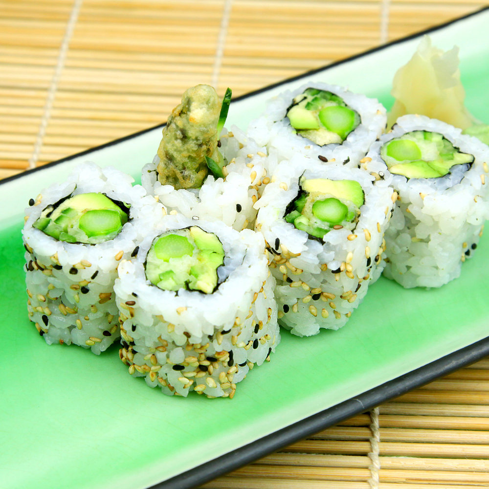 Tempura Asparagus with Avocado, Cucumber & Sesame - 6 PCS @ £4.80