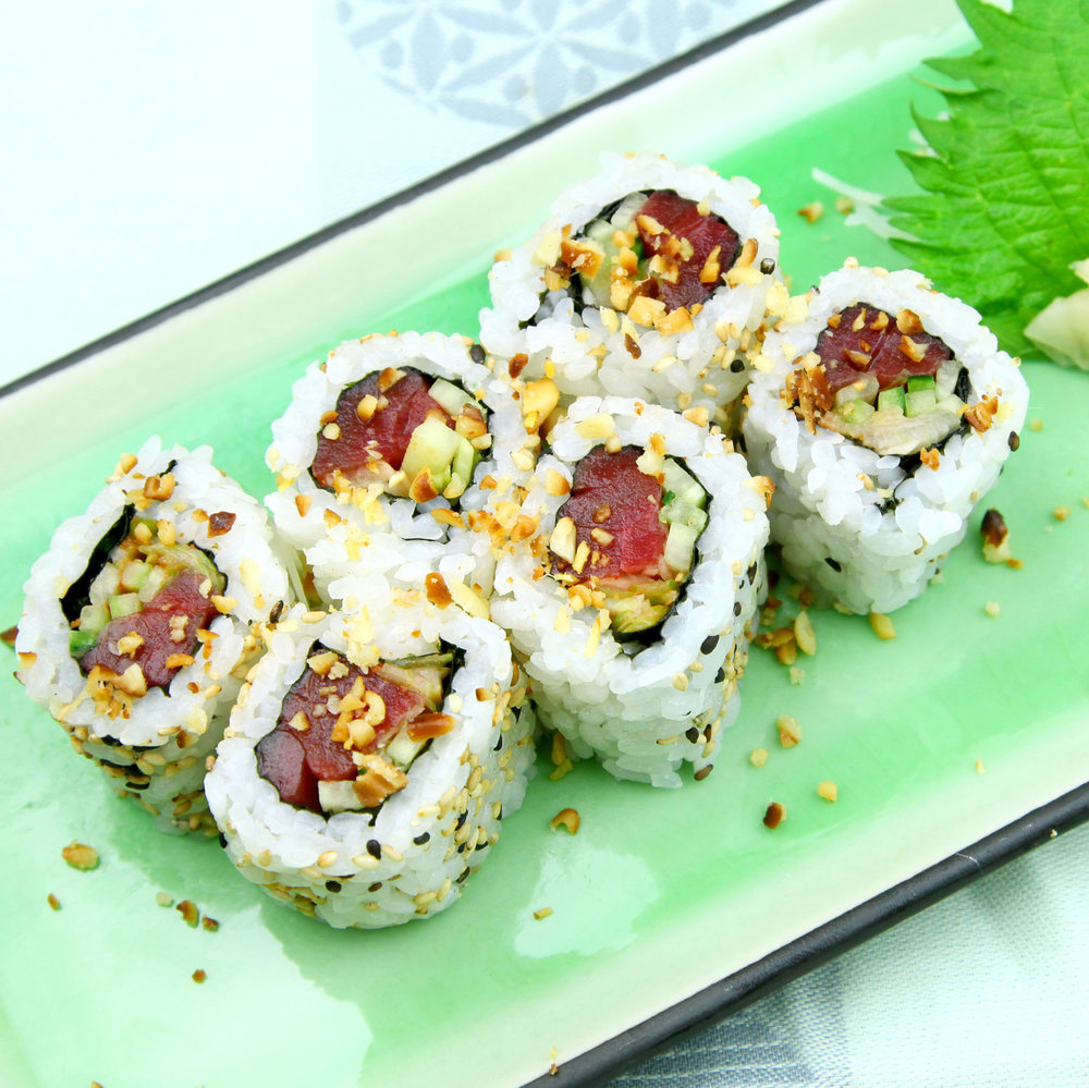 Tuna, Cucumber & Spring Onions Sprinkled with Toasted Pine Nuts - 6 pcs @ £6