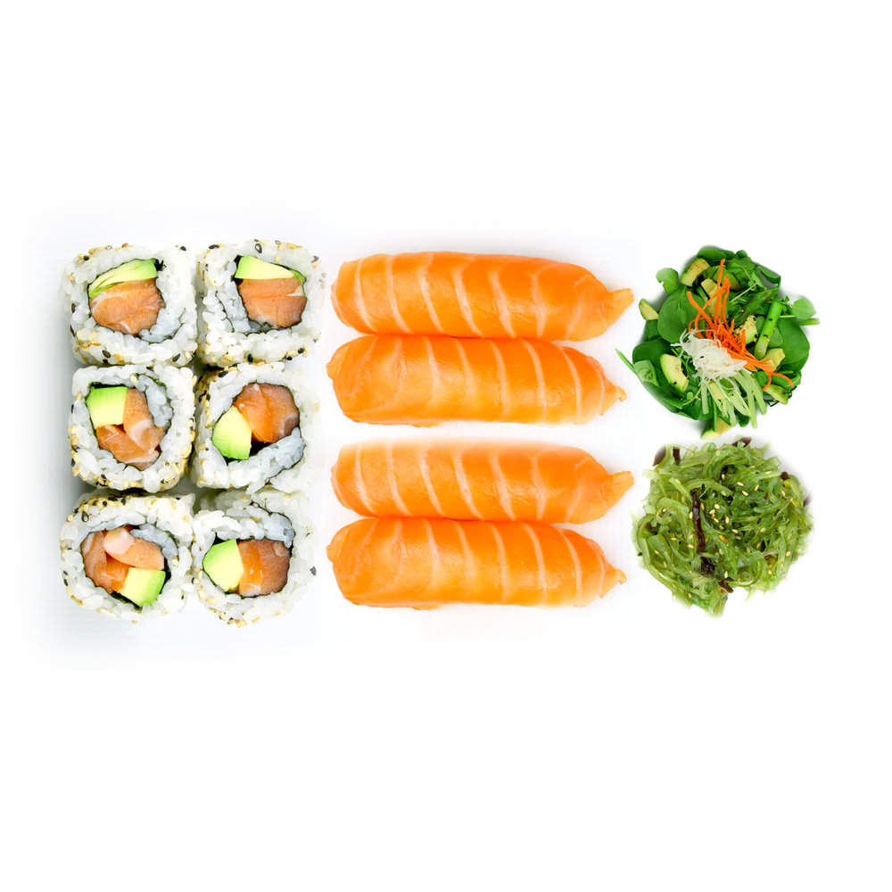 SALMON & AVOCADO WITH SALAD & SEAWEED - 6 x Maki + 4 x Sushi + Salad @ £8.90