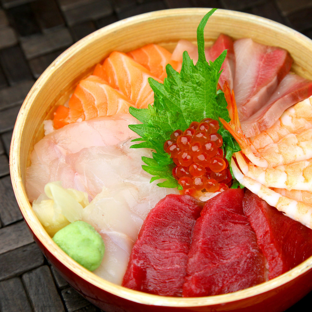 SALMON, TUNA, SEABASS, HAMACHI & COOKED PRAWNS & IKURA CHIRASHI (On Rice)  - @ £13.80