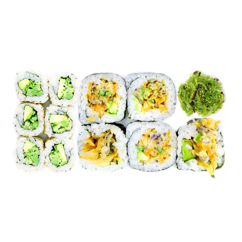 VEGETARIAN BOX - 5 x Tempura Veg Rolls + 6 x Tempura Asparagus &Avocado Roll +Seaweed @ 8.00