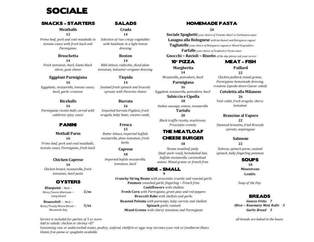 SOCIALE lunch menu