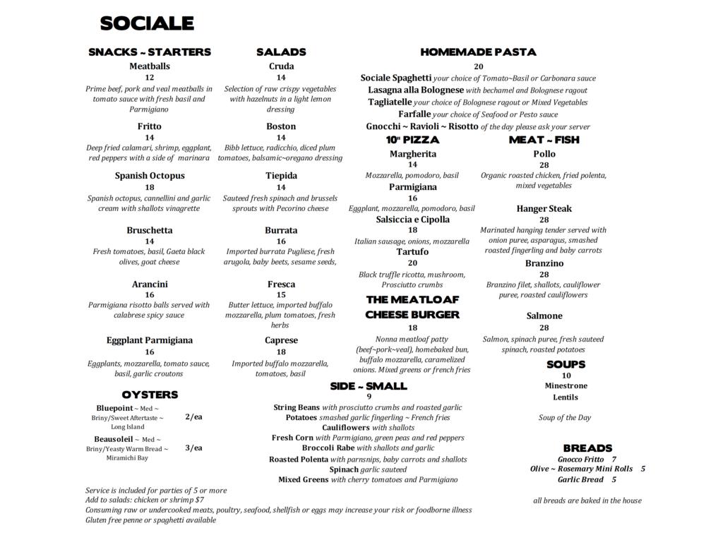 SOCIALE dinner menu