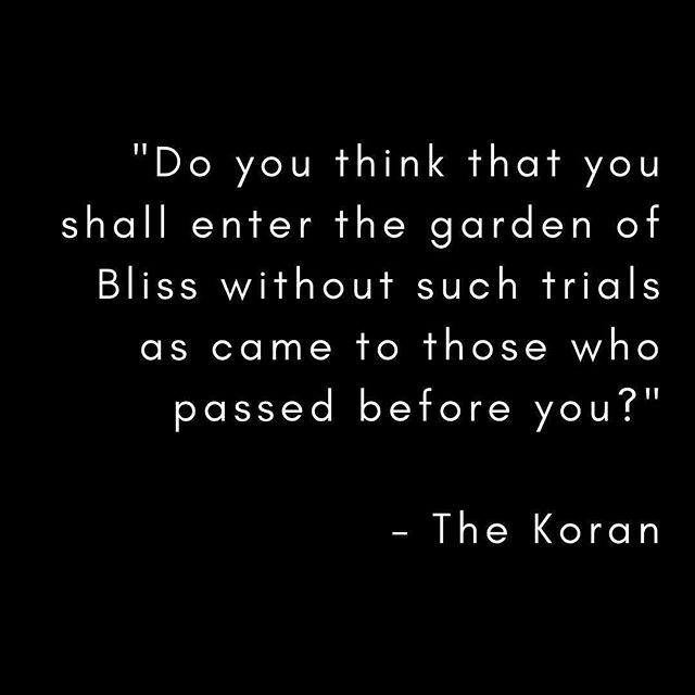 """""""Do you think that you shall enter the garden of Bliss without such trials as came to those who passed before you?"""" - The Koran⠀ .⠀ .⠀ .⠀ .⠀ .⠀ .⠀ .⠀ .⠀ .⠀ .⠀ .⠀ .⠀ .⠀ .⠀ #quote #koran #grow #learn #wanderbravely #lookwithin #treasurewithin #fear #truth #love #wisdom #innertruth #heaven #innerheaven #innerhell #mixedbag #lifeishere #lifeisnow"""