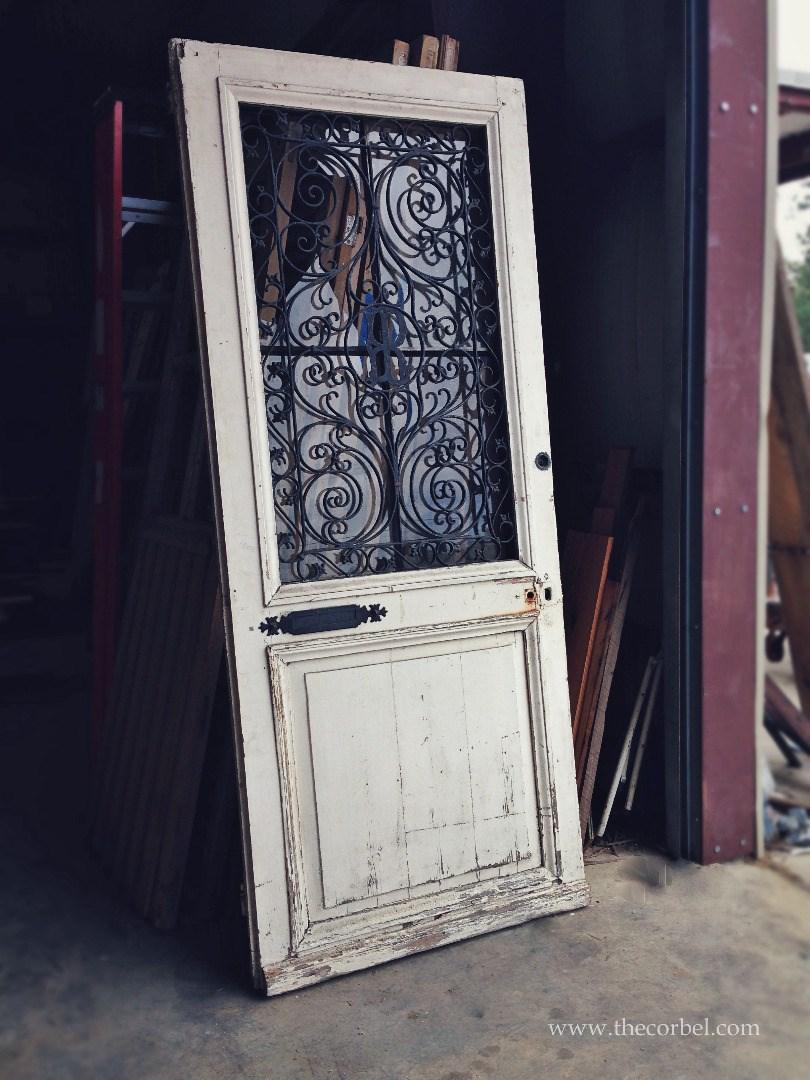 antique door with iron
