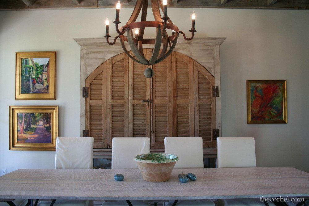 custom hutch cabinet using antique shutters