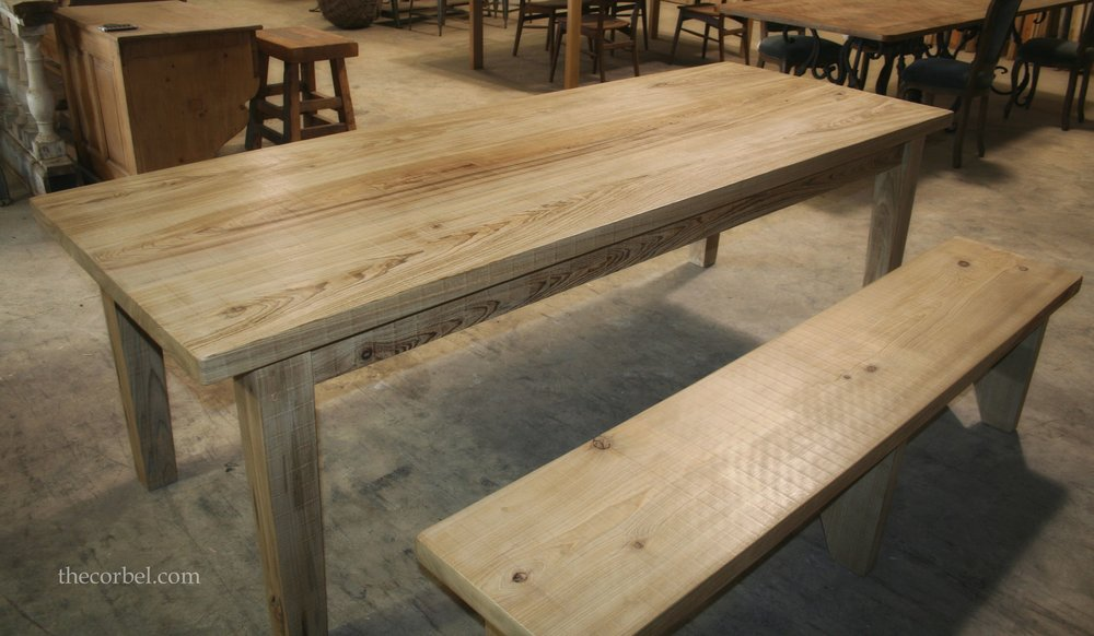 Light Finish Tapered Leg Table And BenchWM
