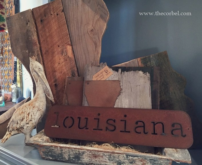 rusted metal louisiana decor