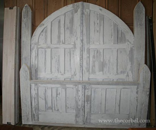 greywash antique arched doorbed
