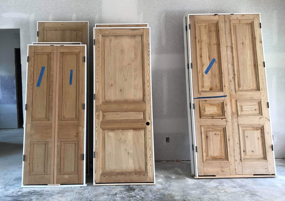 Doors placed in a jamb, ready to be installed.