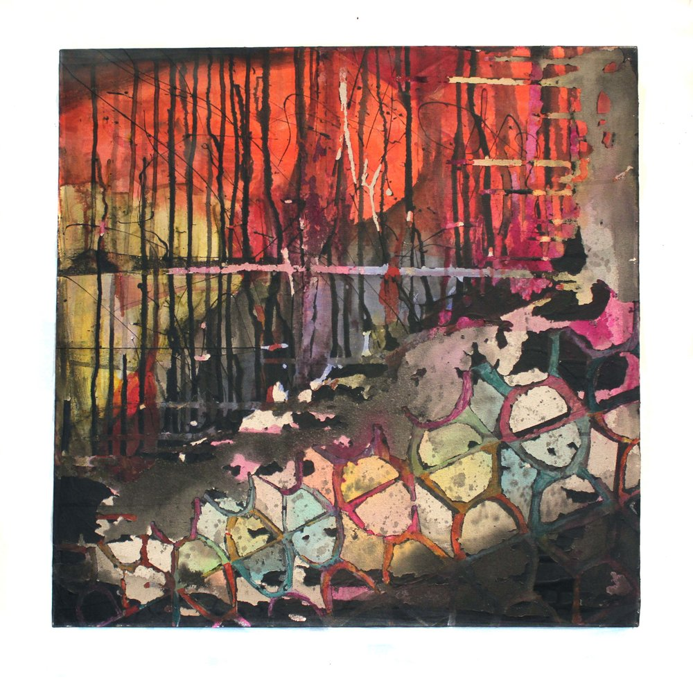 "Al Dilorenzo, Slip!, 2017, spackle, dye, and acrylic paint on canvas, 2x2"""