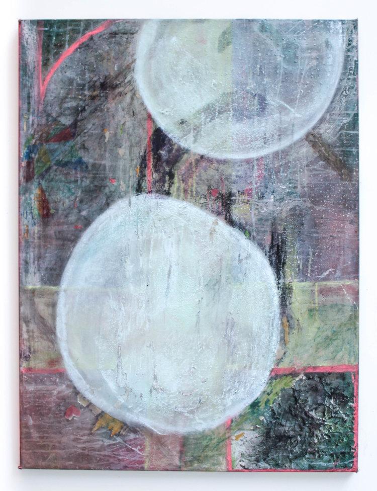 GHST, 2017, spackle, dye, acrylic, glitter, and spray paint on canvas. 3x2'