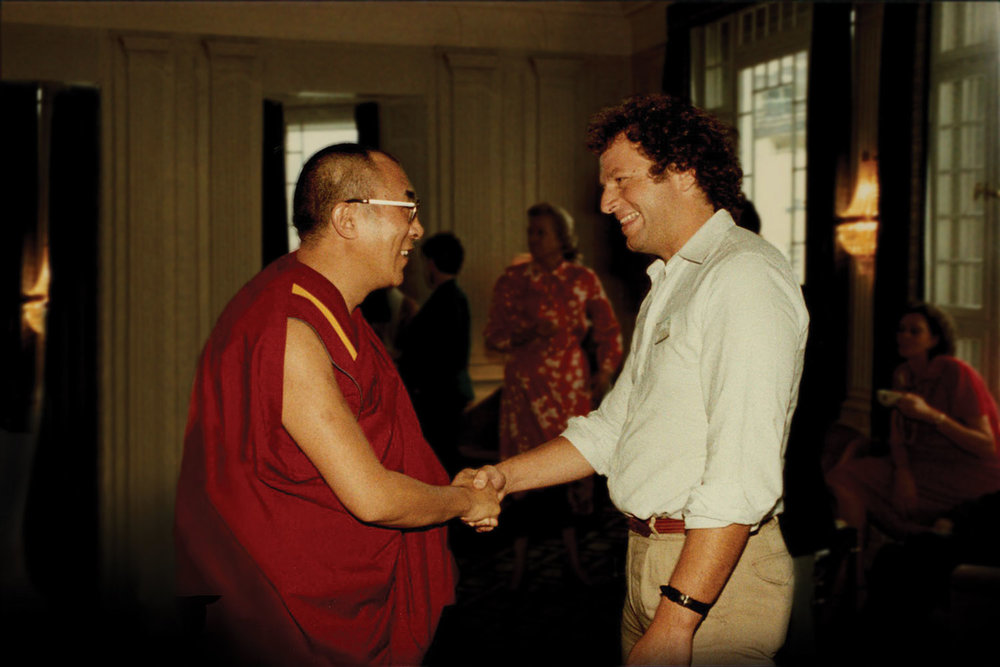 Filmmaker and Author Mickey Lemle  meets His Holiness the Dalai Lama. 1984.