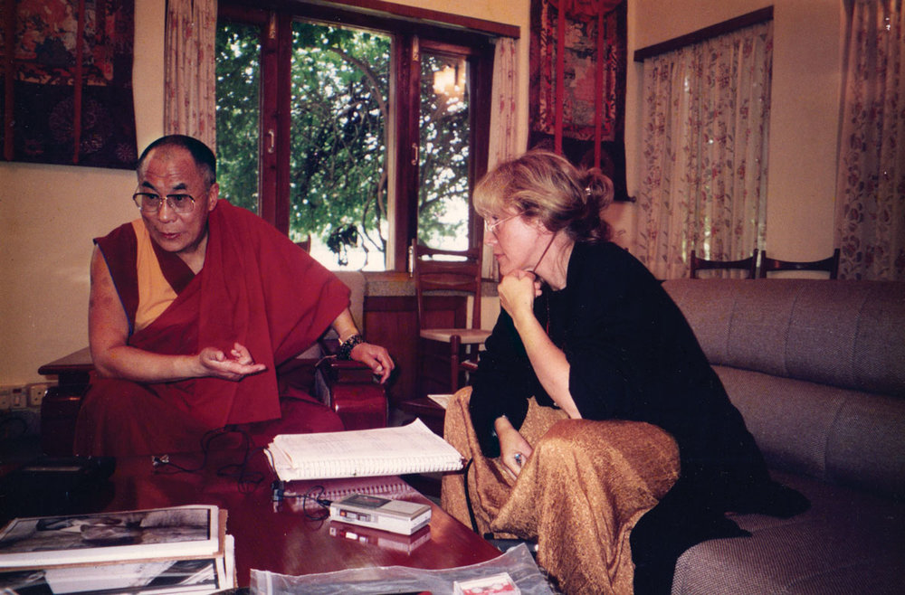 Author Laurie Dolphin  with His Holiness the Dalai Lama. 1996.