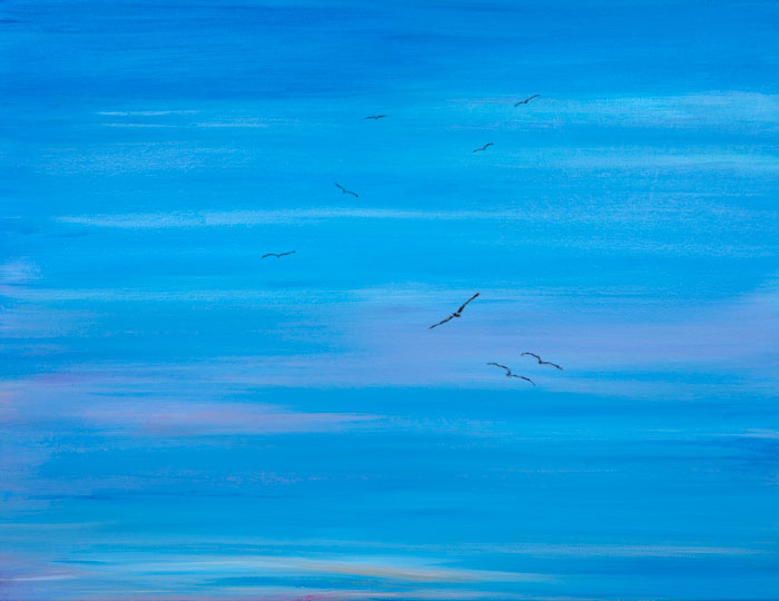Eight Buzzards Riding The Wind Currents 22x28