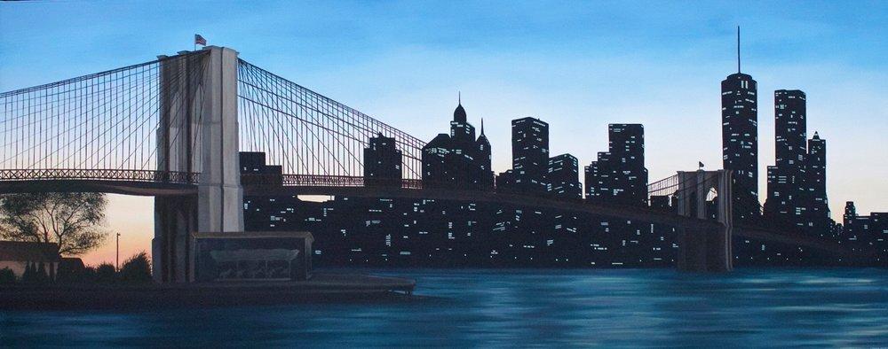 "Brooklyn Bridge, 60""x24"", Oil Paint on Canvas, 2016"