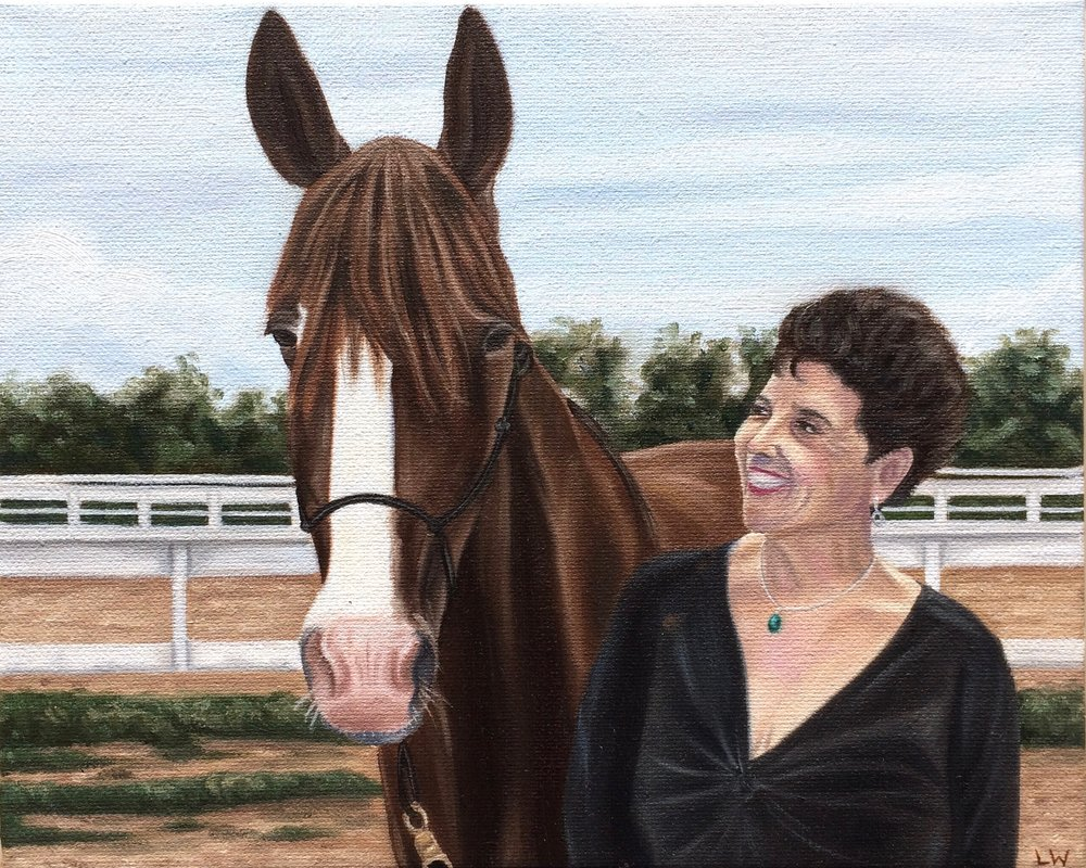 "Elizabeth and Her Horse, 10""x8"", Oil Paint on Canvas, 2016"