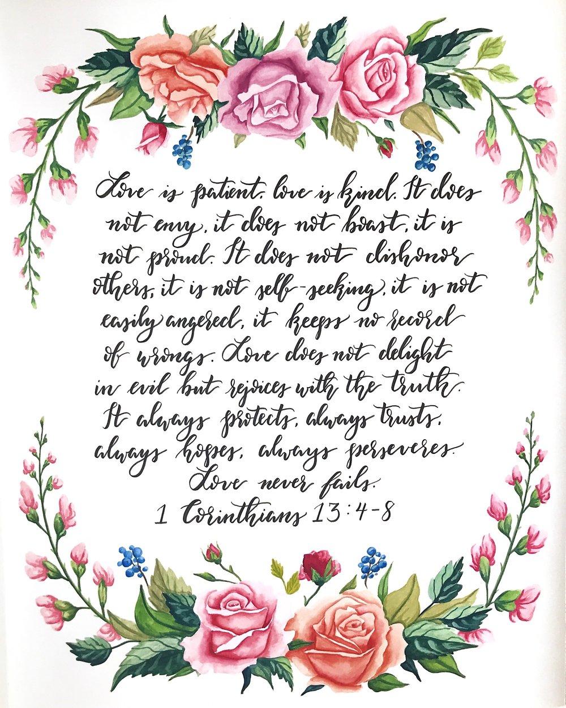 """1 Corinthians 13:4-8, 16""""x20"""", Watercolor and Pen, 2017"""