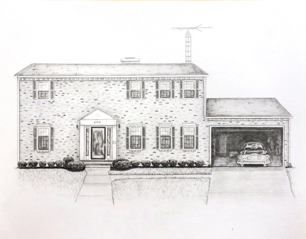 "Tim's Childhood Home, 14""x11"", Pencil on Paper, 2016"