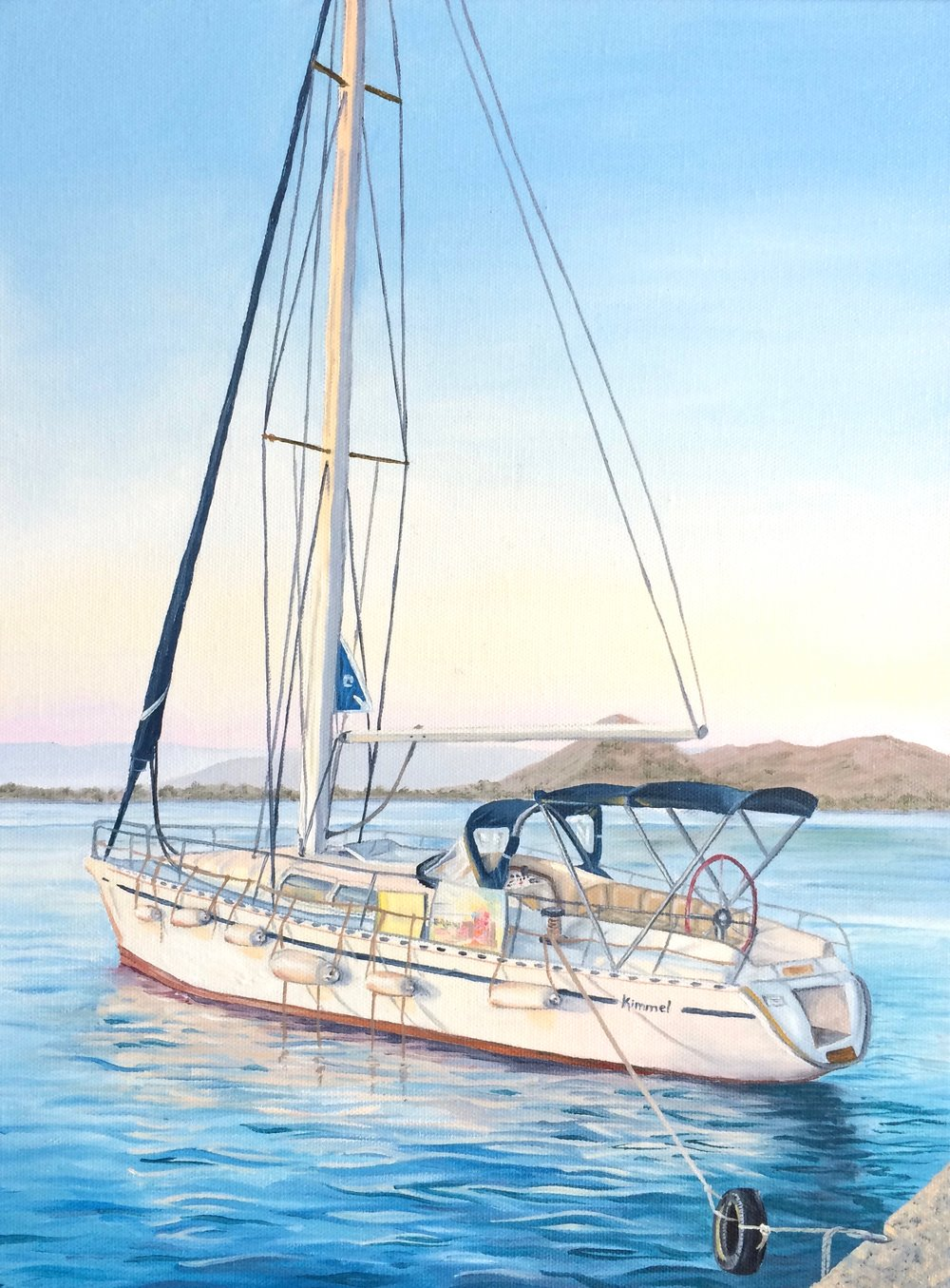 "Sailboat in Greece, 12""x16"", Oil Paint on Canvas, 2014"