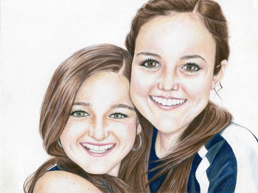 "Allie and I, 12""x9"", Colored Pencil, 2013"