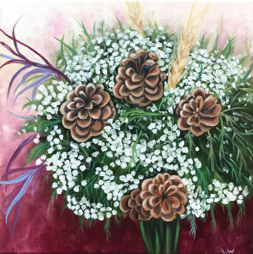 "Erika's Wedding Bouquet, 12""x12"", Oil Paint on Canvas, 2017"