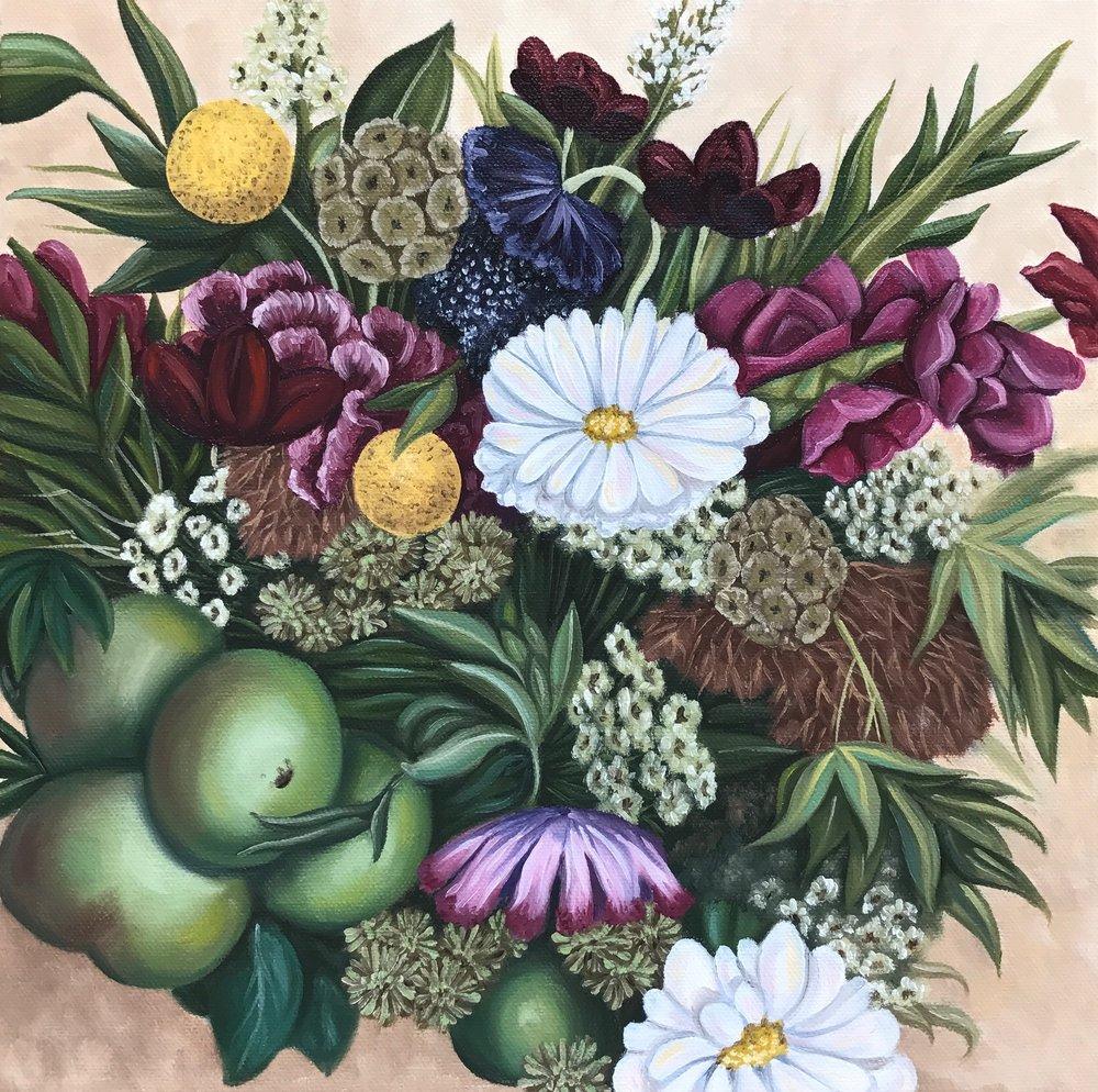 "Julianne's Wedding Bouquet, 12""x12"", Oil Paint on Canvas, 2017"