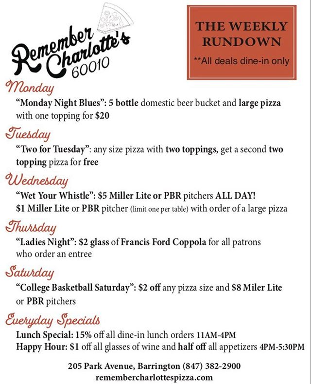 Just a little reminder of our weekly specials 🍕 stay tuned for our Super Bowl Special