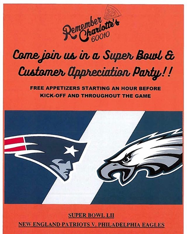 Join us for our own customer appreciation party with FREE APPETIZERS, starting an hour before the game & continuing throughout. Cheese curds, chicken tenders, veggie fries, cheese & bacon stuffed jalapeños, and much more