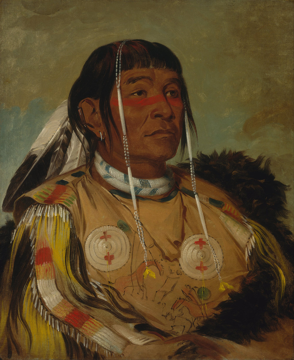 Sha-co-pay, a Plains Ojibwa chief. Painted at Fort Union, 1832 by George Catlin